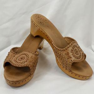 Jack Rogers leather upper wood heel sandals 9